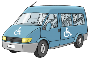 Piktogramm: Fahrzeug mit Rollstuhlkennzeichnung