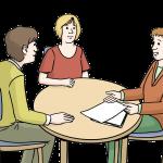 Piktogramm: Ein Berater und 2 Klienten